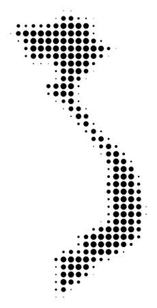 Vietnam Map halftone vector pictogram. Illustration style is dotted iconic Vietnam Map icon symbol on a white background. Halftone pattern is round blots.