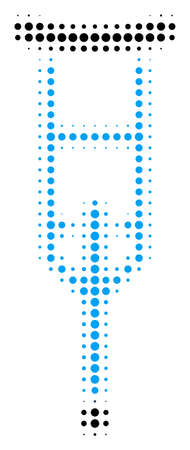 Crutch halftone vector pictogram. Illustration style is dotted iconic Crutch icon symbol on a white background. Halftone texture is round spots.