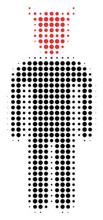 Daemon halftone vector pictogram. Illustration style is dotted iconic Daemon icon symbol on a white background. Halftone texture is round items. Ilustração