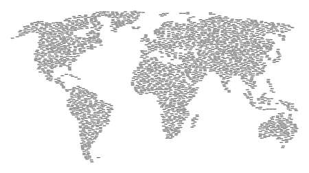 World mosaic map done of censored caption design elements. Raster censored caption scatter flat pictograms are composed into conceptual continental map.