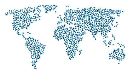 Global geography collage map composed of dual head interface icons. Raster dual head interface scattered flat elements are united into mosaic global illustration. Stok Fotoğraf