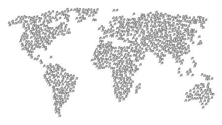 Worldwide composition map made of music notes icons. Raster music notes scattered flat design elements are united into conceptual global world map. Stock Photo