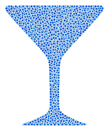 Alcohol Glass mosaic of circle dots in variable sizes and color shades. Small circles are combined into alcohol glass vector collage. Dotted vector illustration.