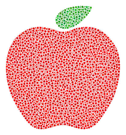 Apple mosaic of dots in variable sizes and color tints. Circle dots are organized into apple vector collage. Dotted vector illustration. Illustration