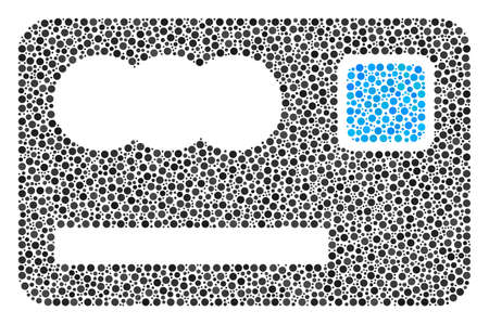 Banking card mosaic of circle dots in different sizes and color tinges. Circle elements are composed into banking card vector mosaic. Dotted vector design concept.