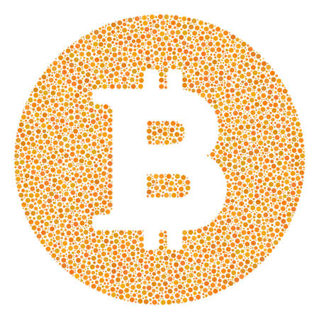 Bitcoin coin mosaic of circle dots in various sizes and color tints. Small circles are composed into bitcoin coin vector mosaic. Dotted vector design concept. Illustration