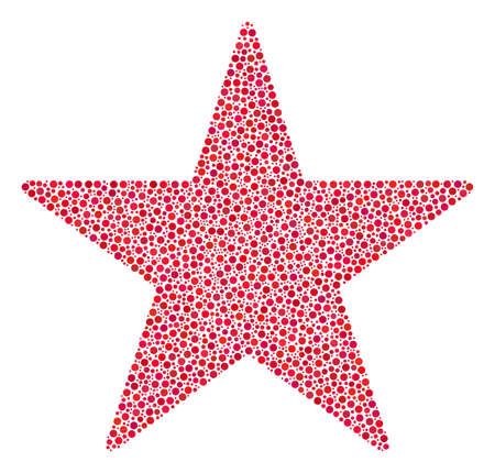 Confetti star collage of small circles in variable sizes and color tinges. Round dots are grouped into confetti star vector illustration. Dotted vector design concept.