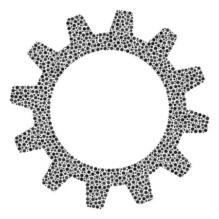 Cogwheel mosaic of dots in different sizes and color hues. Round dots are grouped into cogwheel vector illustration. Dotted vector illustration.