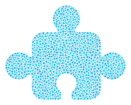 Component composition of small circles in different sizes and color tints. Round dots are united into component vector illustration. Dotted vector illustration. Illusztráció