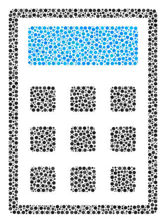 Calculator mosaic of round dots in different sizes and color shades. Dots are composed into calculator vector illustration. Dotted vector illustration.