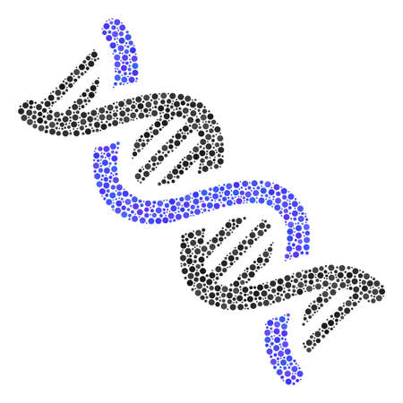 DNA Spiral composition of small circles in different sizes and color tones. Circle elements are combined into dna spiral vector collage. Dotted vector illustration. Ilustração