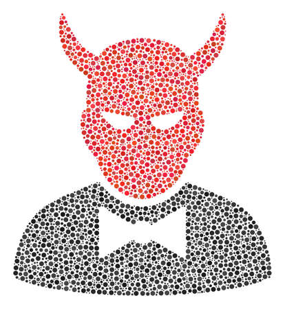 Devil composition of round dots in various sizes and color hues. Small circles are grouped into devil vector collage. Dotted vector design concept.