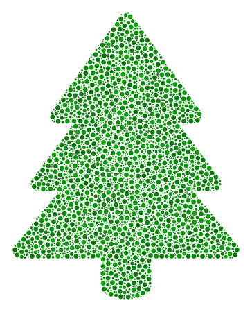 Fir-tree mosaic of small circles in variable sizes and color tones. Circle dots are combined into fir-tree vector mosaic. Dotted vector illustration. 向量圖像