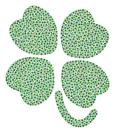 Four leafed clover mosaic of dots in variable sizes and color tones. Circle dots are organized into four-leafed clover vector illustration. Dotted vector design concept. Illustration