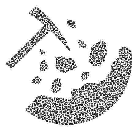 Rocks Mining composition of round dots in different sizes and color tinges. Round dots are grouped into rocks mining vector collage. Dotted vector design concept. Illustration
