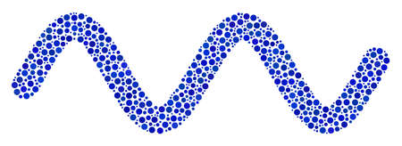 Sinusoidal wave composition of small circles in variable sizes and color shades. Circle elements are organized into sinusoidal wave vector collage. Dotted vector illustration. Stock Illustratie