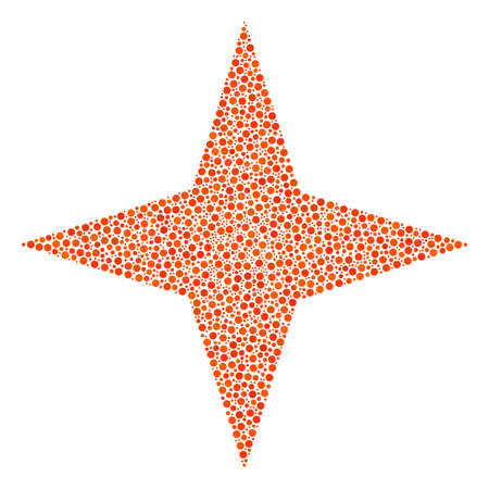 Space Star mosaic of round dots in variable sizes and color tints. Small circles are composed into space star vector illustration. Dotted vector design concept.