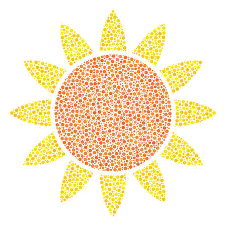 Sun mosaic of dots in different sizes and color hues. Circle dots are organized into sun vector collage. Dotted vector design concept.