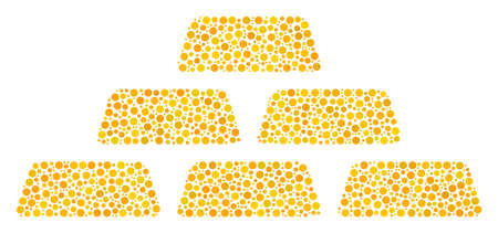 Treasure Bricks mosaic of dots in different sizes and color shades. Round dots are organized into treasure bricks vector illustration. Dotted vector design concept.