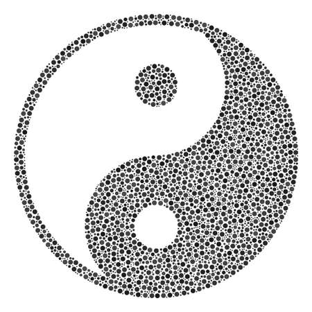 Yin Yang mosaic of small circles in different sizes and color tones. Small circles are organized into yin yang vector mosaic. Dotted vector design concept.