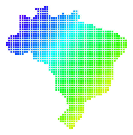 Spectrum dotted pixel Brazil Map Illustration