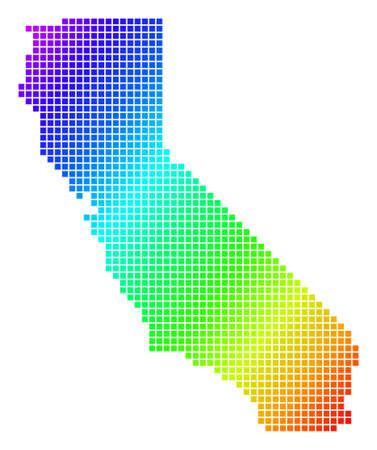 Spectrum dotted pixel California Map