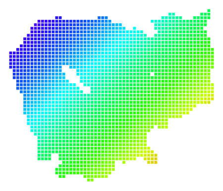 Spectrum dotted pixel Cambodia Map Çizim