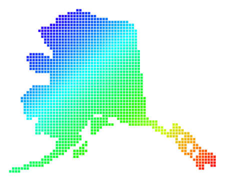 Spectrum dotted pix elated Alaska Map. A Vector geographic map in bright colors on a white background.