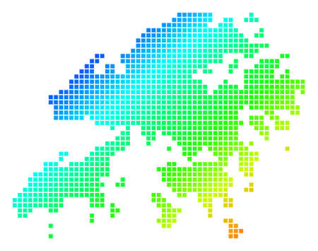 Spectrum dotted pix elated Hong Kong Map isolated on plain background. Ilustração