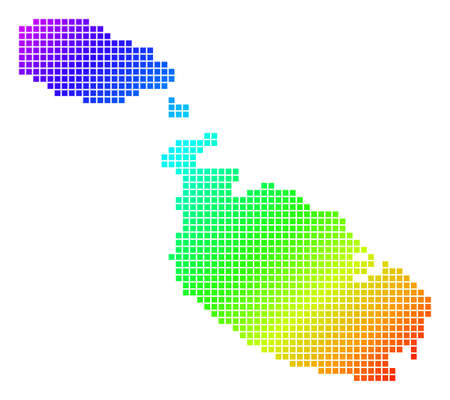 Spectrum dotted pixelated Malta Island Map. Vector geographic map in bright colors on a white background. Spectrum has diagonal gradient. Illustration
