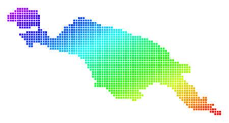 Carte de la division de la Nouvelle-Guinée pixelisée en pointillés. Carte géographique vectorielle dans des couleurs vives sur fond blanc. Le spectre a un gradient diagonal. Vecteurs
