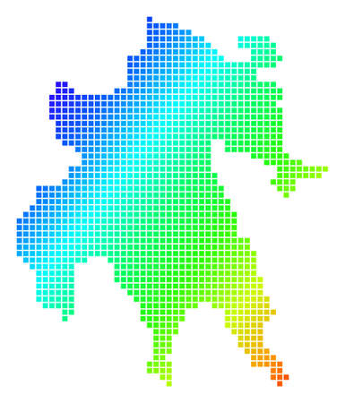 Spectrum dotted pixelated Peloponnese Half-Island Map. Vector geographic map in bright colors on a white background. Spectrum has diagonal gradient.