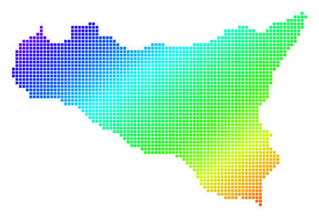 Spectrum dotted pixel Sicilia Map. Vector geographic map in bright colors on a white background. Spectrum has diagonal gradient. Multicolored vector composition of Sicilia Map made of small squares. Ilustração