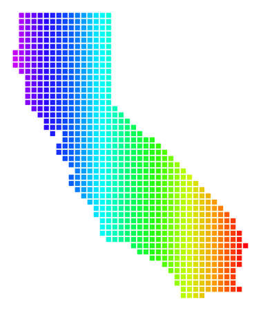 Dot spectrum pixelated California Map. Vector geographic map in bright colors on a white background. Spectrum has horizontal gradient.