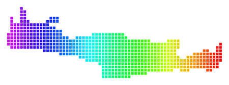 Dot spectrum pixelated Crete Island Map. Vector geographic map in bright colors on a white background. Spectrum has horizontal gradient.