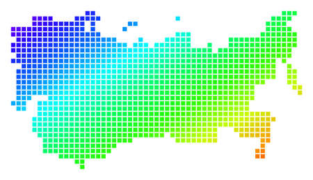 Spectrum dotted pixel USSR Map. Vector geographic map in bright colors on a white background.