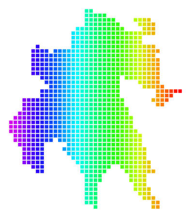 Spectrum dotted pixelated Peloponnese Half-Island Map. Vector geographic map in bright colors on a white background. Spectrum has horizontal gradient.