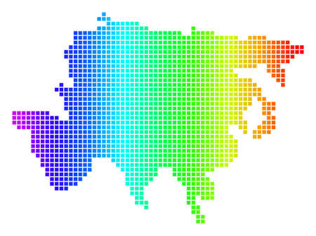 Spectrum dotted pixelated Asia Map. Vector geographic map in bright colors on a white background. Spectrum has horizontal gradient. Illustration