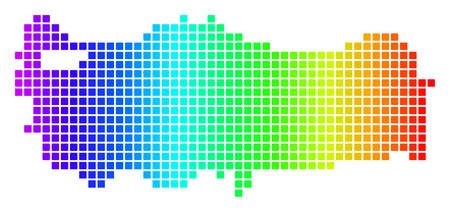 Dot spectrum pixel Turkey Map. Vector geographic map in bright colors on a white background. Spectrum has horizontal gradient. Colored vector collage of Turkey Map done of rounded square dots.