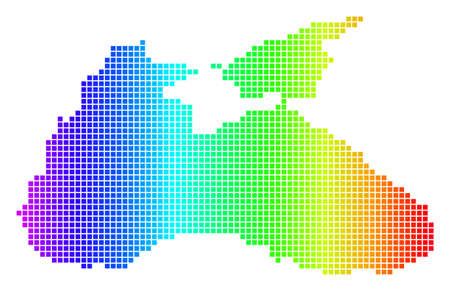 Spectrum dotted pixel Black Sea Map. Raster geographic map in bright colors on a white background. Spectrum has horizontal gradient. Multicolored raster composition of Black Sea Map combined of dots. Stock Photo