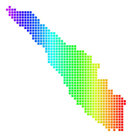 Spectrum dotted pixelated Sumatra Island Map. Raster geographic map in bright colors on a white background. Spectrum has horizontal gradient. Stock Photo