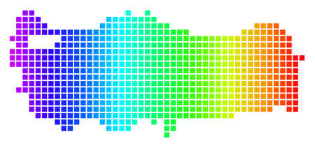 Dot spectrum pixelated Turkey Map. Raster geographic map in bright colors on a white background. Spectrum has horizontal gradient. Stock Photo