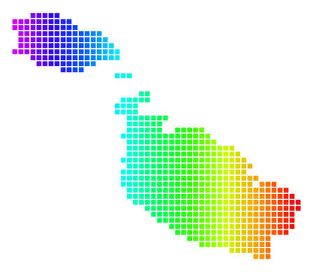 Dot spectrum pixelated Malta Island Map. Raster geographic map in bright colors on a white background. Spectrum has horizontal gradient.