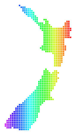 Dot spectrum pixel New Zealand Map. Raster geographic map in bright colors on a white background. Spectrum has horizontal gradient.