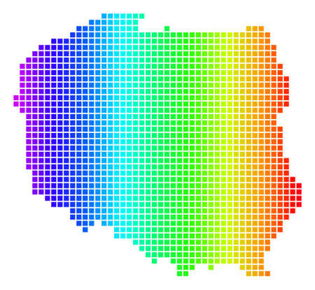 Spectrum dotted pixel Poland Map. Raster geographic map in bright colors on a white background. Spectrum has horizontal gradient.