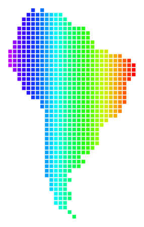 Spectrum dotted pixel South America Map. Raster geographic map in bright colors on a white background. Spectrum has horizontal gradient.