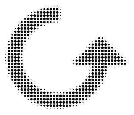 Rotate halftone raster pictogram. Illustration style is dotted iconic Rotate icon symbol on a white background. Halftone matrix is round items.