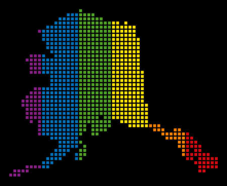 Rainbow vector abstract mosaic of Alaska Map combined of rounded square dots. Vector homosexual tolerance geographic map in LGBT flag color hues on a black background.