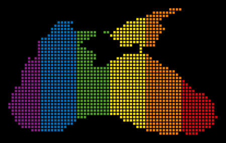 Colored vector abstract collage of Black Sea Map composed of rounded square items. Vector homosexual tolerance geographic map in LGBT flag color tints on a black background.