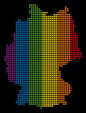 Multicolored vector abstract concept of Germany Map created of rounded square dots. Vector homosexual tolerance geographic map in LGBT flag color variations on a black background. Illustration